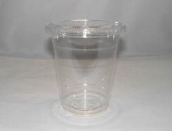 画像1: プラスチックジュースカップ12オンス(フタ付き)10個組